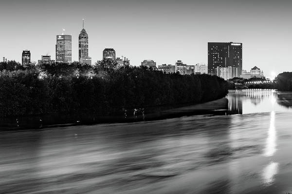 Photograph - Black And White Indianapolis Skyline On The White River by Gregory Ballos