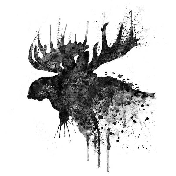 Wall Art - Painting - Black And White Moose Head Watercolor Silhouette  by Marian Voicu