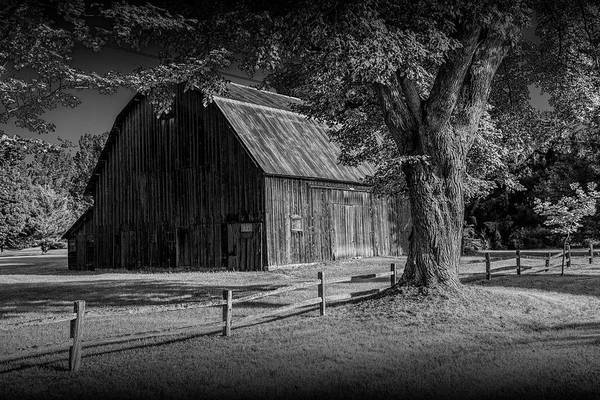 Photograph - Black And White Of A Wooden Weathered Barn In West Michigan by Randall Nyhof