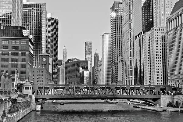 Wall Art - Photograph - Black And White Of Iconic Chicago View by Frozen in Time Fine Art Photography