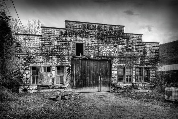 Photograph - Black And White Of Old Seneca Motor Building by Dan Friend