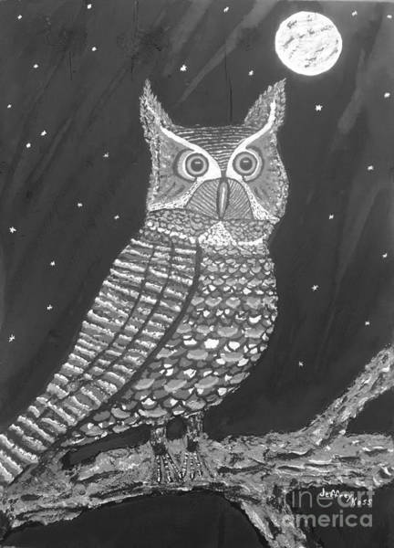 Wall Art - Painting - Black And White Owl  by Jeffrey Koss