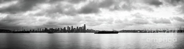 Photograph - Black And White Panorama Of Seattle Skyline Reflected On The Bay by PorqueNo Studios
