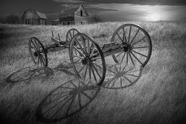 Wall Art - Photograph - Black And White Photograph Of A Farm Wagon Chassis In A Grassy F by Randall Nyhof