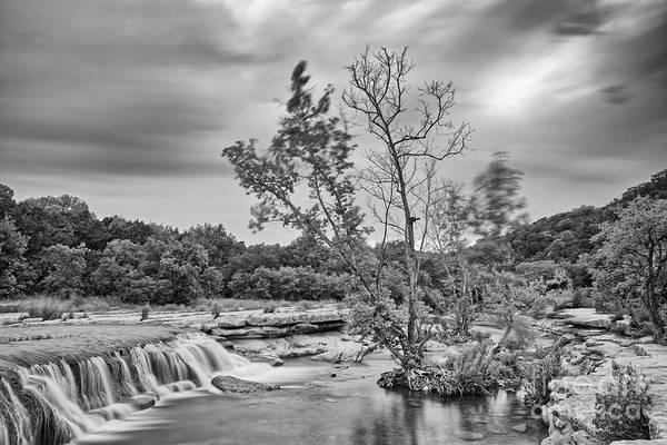 Wall Art - Photograph - Black And White Photograph Of Link Falls At Bull Creek District Park Greenbelt - Austin Texas by Silvio Ligutti
