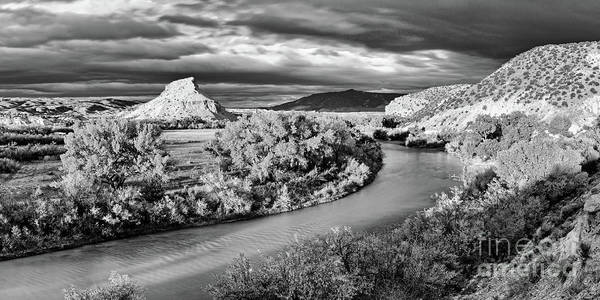 Photograph - Black And White Photograph Of The Rio Chama And Cerrito Blanco In Abiquiu - Rio Arriba New Mexico by Silvio Ligutti