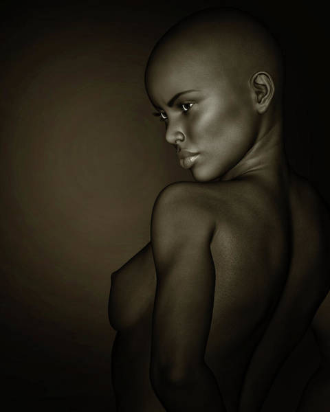 Photograph - Black And White Profile Of A Nude African Girl by Jan Keteleer