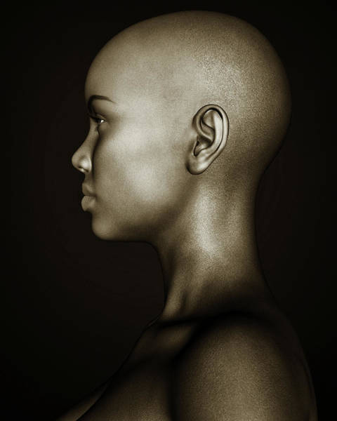 Photograph - Black And White Profile Of An African Girl by Jan Keteleer