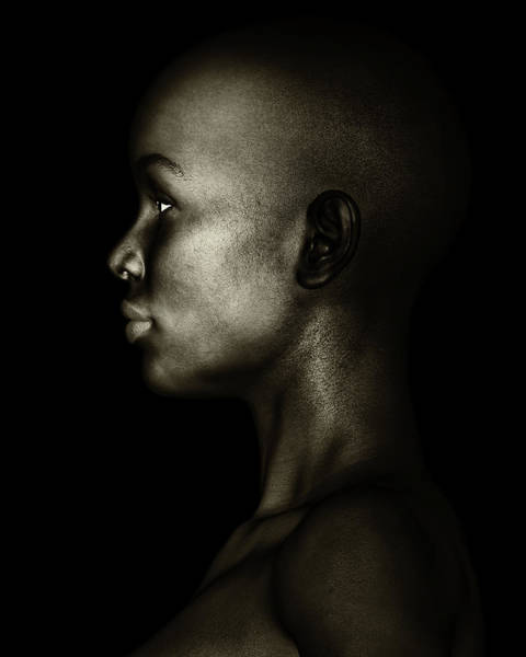 Photograph - Black And White Profile Of An African Woman by Jan Keteleer
