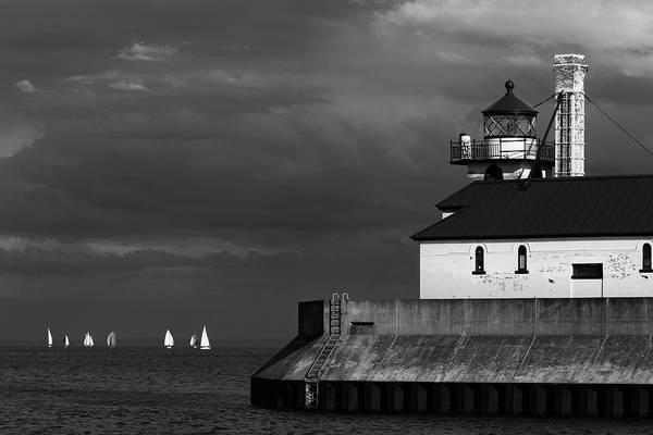 Photograph - Black And White Regatta On Lake Superior by David Lunde