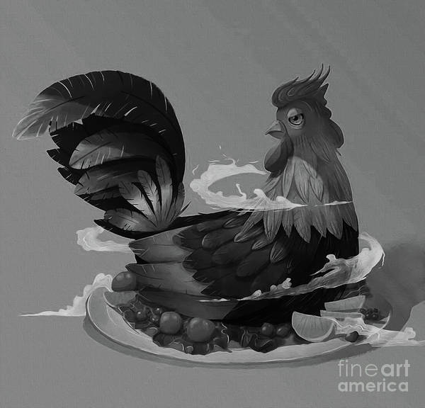 Roost Painting - Black And White Roaster   by Gull G