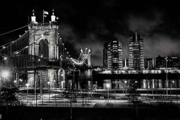Photograph - Black And White Roebling Bridge by Ed Taylor