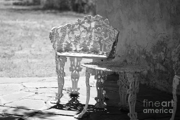 Photograph - Black And White Seating Area Fort Stanton New Mexico by Colleen Cornelius
