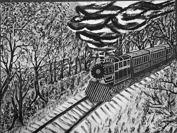Wall Art - Painting - Black And White Steam Train by Jeffrey Koss