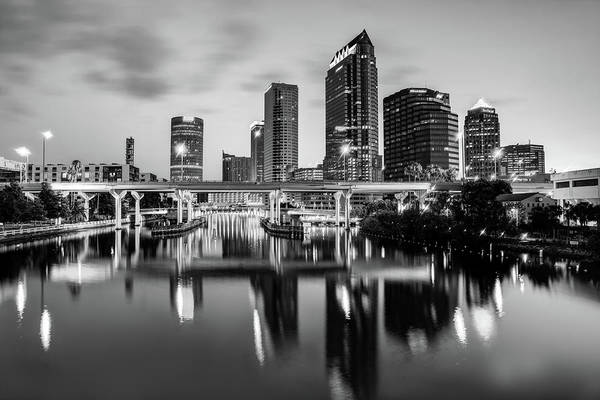 Photograph - Black And White Tampa Florida Skyline Reflections by Gregory Ballos
