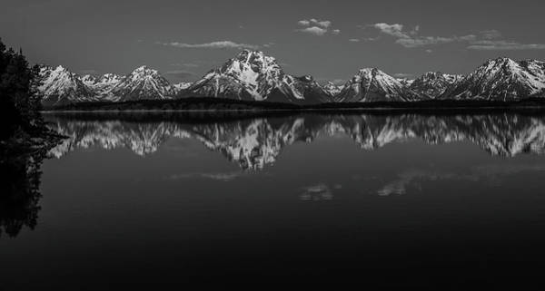 Photograph - Black And White Teton Reflection Panorama by Dan Sproul