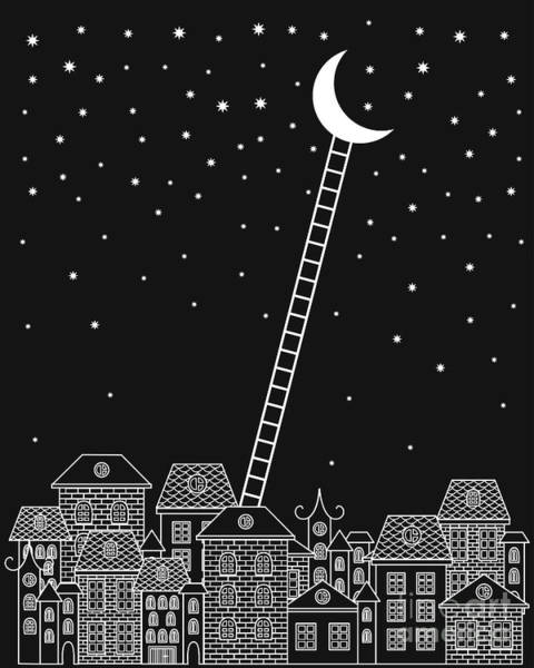 Bricks Digital Art - Black And White To The Moon And Back by In dies magis
