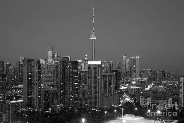 Wall Art - Photograph - Black And White Toronto Central Business District Skyline by Bill Cobb