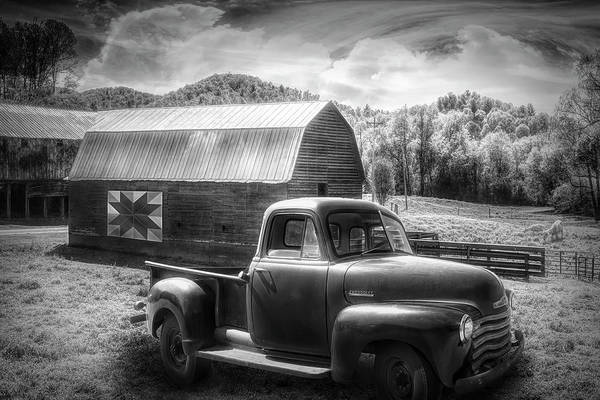 Wall Art - Photograph - Black And White Truck At The Farm Barn by Debra and Dave Vanderlaan
