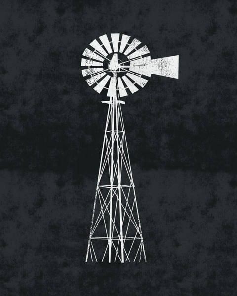 Wall Art - Digital Art - Black And White Windmill 2- Art By Linda Woods by Linda Woods