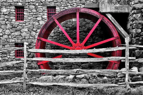 Wayside Inn Photograph - Black And White With Red - Grist Mill by Luke Moore