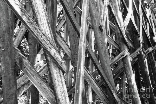 Photograph - Black And White Wooden Structure by Phil Perkins