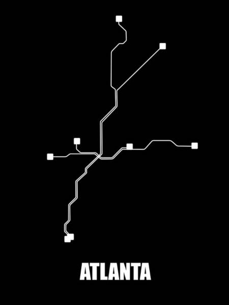 Wall Art - Digital Art - Black Atlanta Subway Map by Naxart Studio