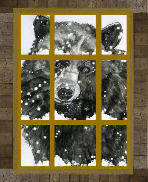 Painting - Black Bear, Outside My Window by Joan Chlarson