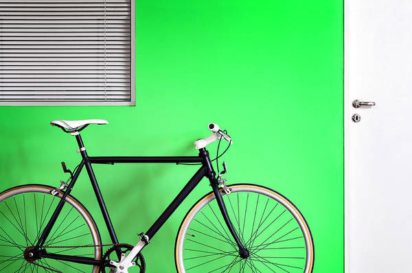 Bicycle Photograph - Black Bicycle Green Wall by Carlosalvarez