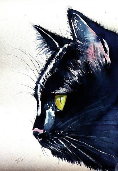 Wall Art - Painting - Black Cat /big by Kovacs Anna Brigitta