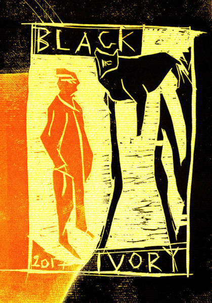 Digital Art - Black Cat Black Ivory Woodcut Poster 17 by Artist Dot