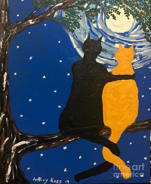 Wall Art - Painting - Black Cat In Love by Jeffrey Koss