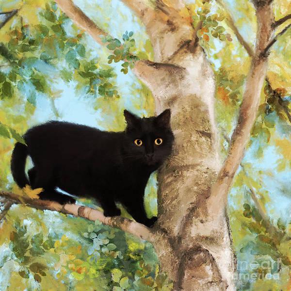 Digital Art - Black Cat In Tree by Anne Vis