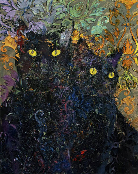 Wall Art - Painting - Black Cat Karma by Michael Creese