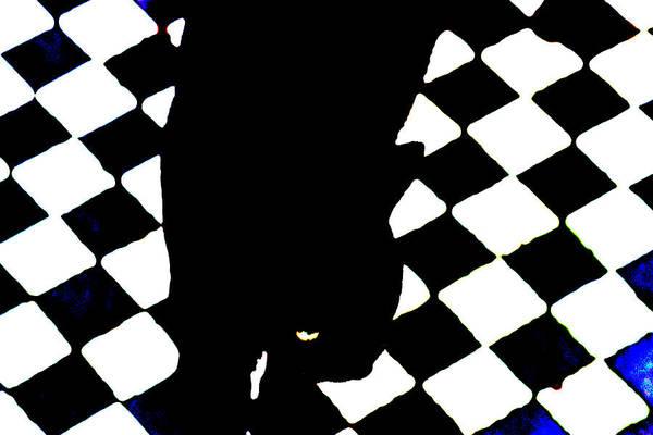 Digital Art - Black Cat On A Chessboard by Artist Dot