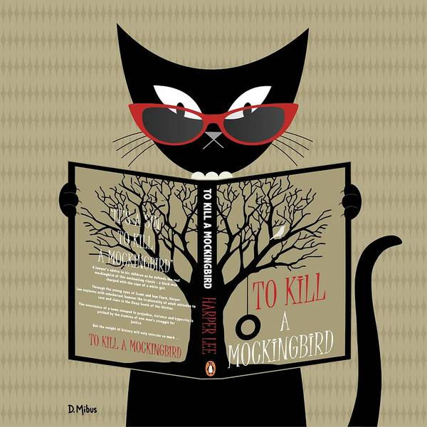 Digital Art - Black Cat Reading by Donna Mibus