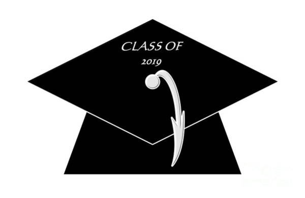 Digital Art - Black Class Of 2019 Graduation Cap by Rose Santuci-Sofranko