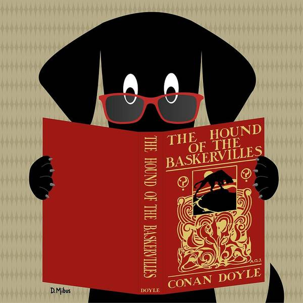 Digital Art - Black Dog Reading by Donna Mibus