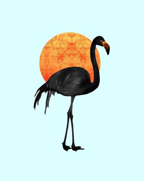 Wall Art - Mixed Media - Black Flamingo 3 - Tropical Wall Decor - Flamingo Posters - Exotic Birds - Black, Modern, Minimal  by Studio Grafiikka