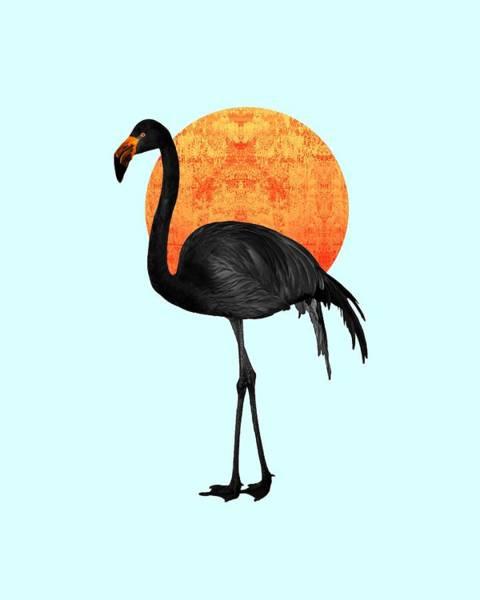 Wall Art - Mixed Media - Black Flamingo 4 - Tropical Wall Decor - Flamingo Posters - Exotic Birds - Black, Modern, Minimal  by Studio Grafiikka
