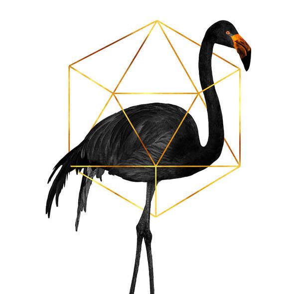 Wall Art - Mixed Media - Black Flamingo 5 - Tropical Wall Decor - Flamingo Posters - Exotic, Black, Gold, Modern, Minimal  by Studio Grafiikka