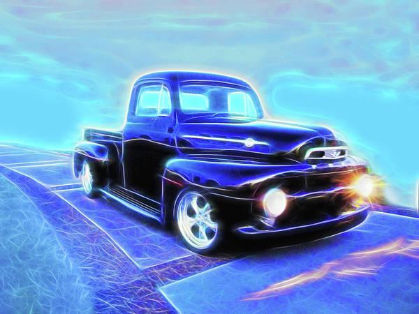 Digital Art - Black Ford Truck by Rick Wicker