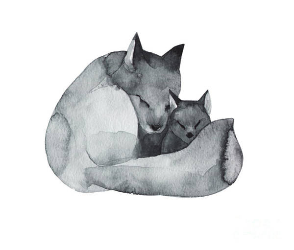 Fauna Digital Art - Black Fox And The Baby-watercolor by Kat branches