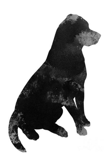Wall Art - Painting - Black Greyish Labrador Silhouette  Animal Motive Modern Art Dog Poster by Joanna Szmerdt