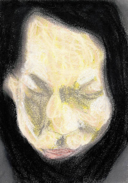 Drawing - Black Haired Female Portrait by Artist Dot