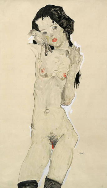 Wall Art - Painting - Black-haired Nude Girl, Standing, 1910 by Egon Schiele
