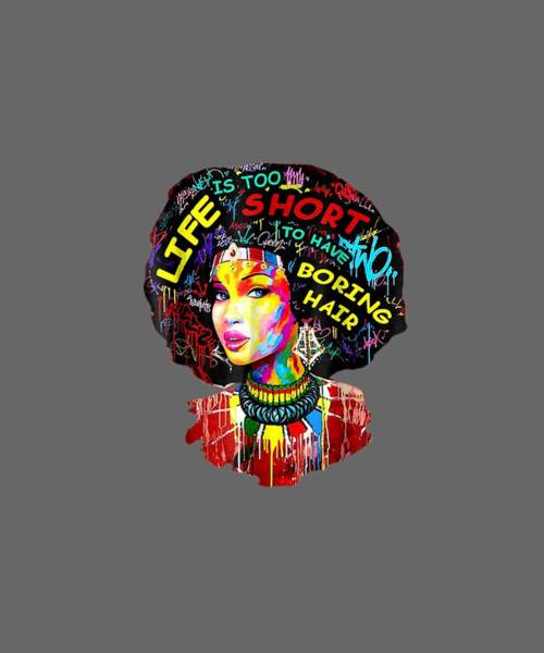 Wall Art - Digital Art - Black History Month Afro Word Art Natural Hair T-shirt by Unique Tees