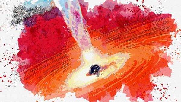 Wall Art - Painting - Black Holes, Monsters In Space, Nasa Watercolor By Ahmet Asar by Ahmet Asar