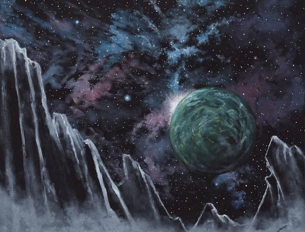 Science Fiction Painting - Black Ice Canyon by Michael Zawacki