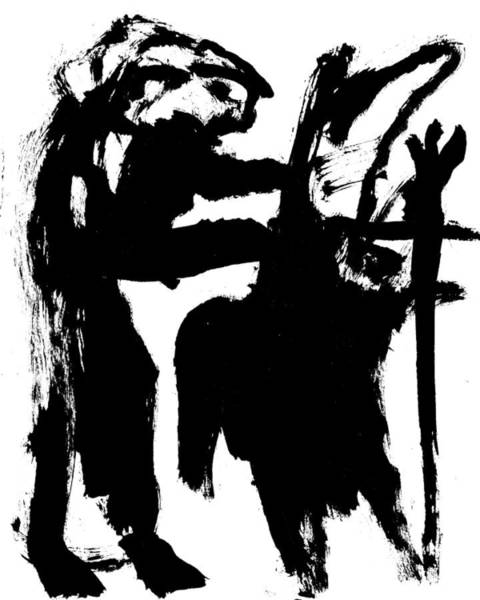 Drawing - Black Ink 290319 2 by Artist Dot
